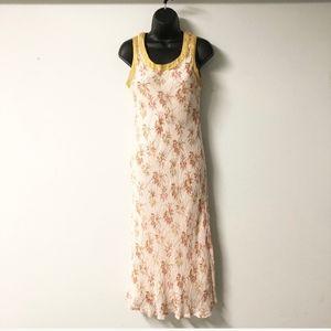 Vtg April Cornell Dress Yellow Spring Full Length